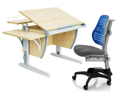 Комплект ДЭМИ Парта СУТ-14-02 75х55 см с задней и боковой приставкой с креслом Oxford C3 и прозрачной накладкой на парту 65х45