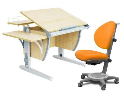 Комплект ДЭМИ Парта СУТ-14-02 75х55 см с задней и боковой приставкой с креслом Cambridge и прозрачной накладкой на парту 65х45