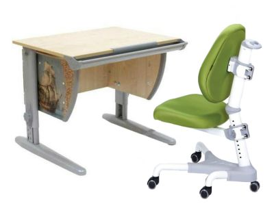 Комплект ДЭМИ Парта СУТ-14P 75х55 см с рисунком с креслом Champion и прозрачной накладкой на парту 65х45