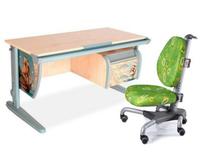 Комплект ДЭМИ Парта СУТ-15-03P 120х55 см с рисунком с креслом Nobel и прозрачной накладкой на парту 65х45