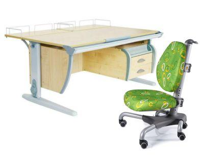 Комплект ДЭМИ Парта СУТ-15-04 120х55 см с задней приставкой с креслом Nobel и прозрачной накладкой на парту 65х45
