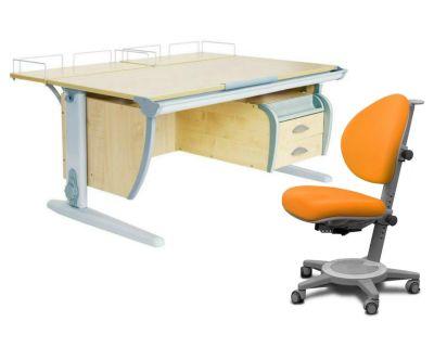 Комплект ДЭМИ Парта СУТ-15-04 120х55 см с задней приставкой с креслом Cambridge и прозрачной накладкой на парту 65х45