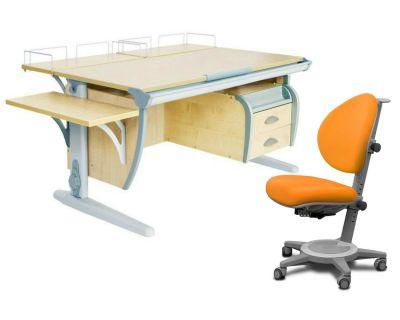 Комплект ДЭМИ Парта СУТ-15-05 120х55 см с креслом Cambridge и прозрачной накладкой на парту 65х45