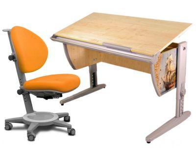 Комплект ДЭМИ Парта СУТ-15P 120х55 см с рисунком с креслом Cambridge и прозрачной накладкой на парту 65х45