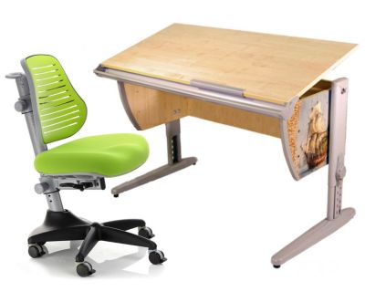 Комплект ДЭМИ Парта СУТ-15P 120х55 см с рисунком с креслом Conan и прозрачной накладкой на парту 65х45