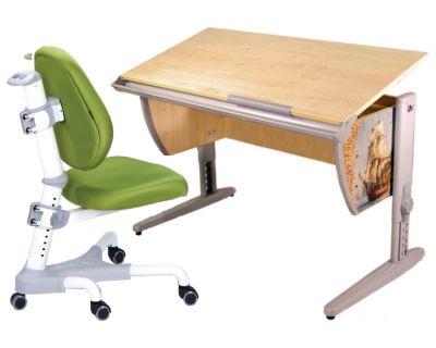 Комплект ДЭМИ Парта СУТ-15P 120х55 см с рисунком с креслом Champion и прозрачной накладкой на парту 65х45