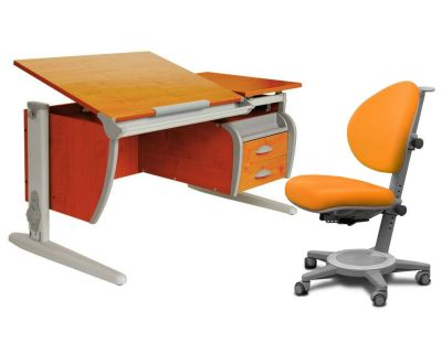 Комплект ДЭМИ Парта СУТ-17-04 120х80 см с креслом Cambridge и прозрачной накладкой на парту 65х45