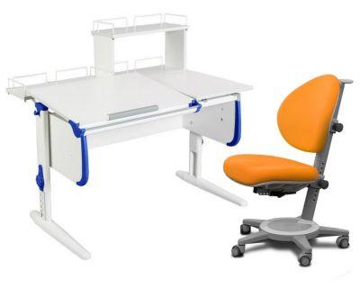 Комплект ДЭМИ Парта СУТ-25-01Д WHITE DOUBLE с раздельной столешницей с креслом Cambridge и прозрачной накладкой на парту 65х45