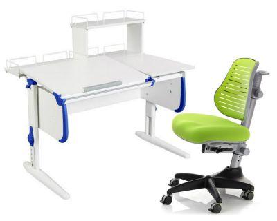 Комплект ДЭМИ Парта СУТ-25-01Д WHITE DOUBLE с раздельной столешницей с креслом Conan и прозрачной накладкой на парту 65х45