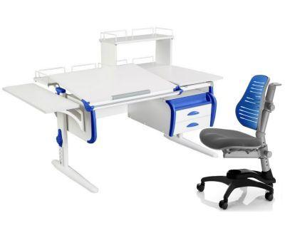Комплект ДЭМИ Парта СУТ-25-05Д WHITE DOUBLE с креслом Oxford C3 и прозрачной накладкой на парту 65х45