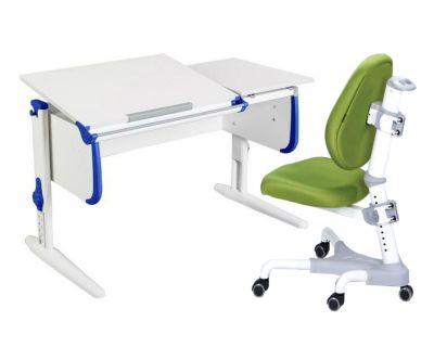 Комплект ДЭМИ Парта СУТ-25 WHITE DOUBLE с раздельной столешницей с креслом Champion и прозрачной накладкой на парту 65х45