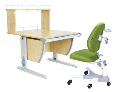 Комплект ДЭМИ Парта СУТ 14-01Д с креслом Champion и прозрачной накладкой на парту 65х45