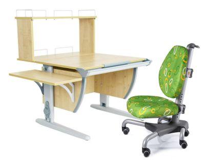 Комплект ДЭМИ Парта СУТ 14-02Д с креслом Nobel и прозрачной накладкой на парту 65х45