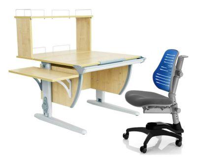 Комплект ДЭМИ Парта СУТ 14-02Д с креслом Oxford C3 и прозрачной накладкой на парту 65х45