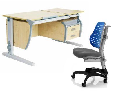 Комплект ДЭМИ Парта СУТ 17-03 120Х55 см с подвесной тумбой с креслом Oxford C3 и прозрачной накладкой на парту 65х45