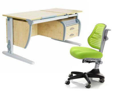 Комплект ДЭМИ Парта СУТ 17-03 120Х55 см с подвесной тумбой с креслом Conan и прозрачной накладкой на парту 65х45
