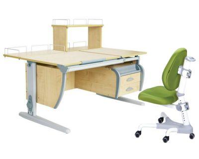 Комплект ДЭМИ Парта СУТ 17-04Д с креслом Champion и прозрачной накладкой на парту 65х45