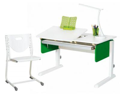Комплект Астек Парта ЛИДЕР Белоснежный со стулом SF-3 и прозрачной накладкой на парту 65х45