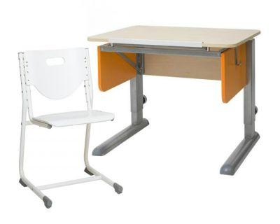 Комплект Астек Парта Юниор береза со стулом SF-3 и прозрачной накладкой на парту 65х45