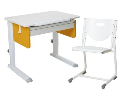 Комплект Астек Парта Юниор с ящиком со стулом SF-3 и прозрачной накладкой на парту 65х45
