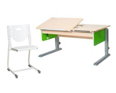Комплект Астек Парта ЛИДЕР Береза со стулом SF-3 и прозрачной накладкой на парту 65х45