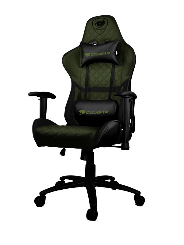 Геймерское кресло Cougar Armor One X Металл / Экокожа Зелено/черный Черный коврик cougar neon x черный