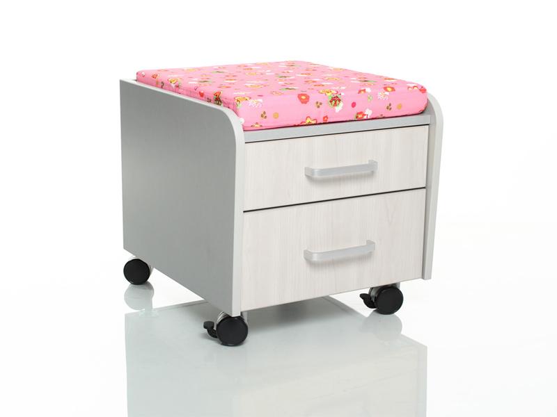 Тумбочка Comf-Pro BD-C2 Розовый со зверями Серый Беленый Дуб