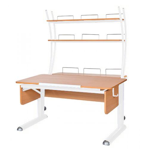 Домашняя парта Астек МОНО-2 с надстройкой ЛДСП Бук Белый столы и стулья астек стол твин 2 столешница бук