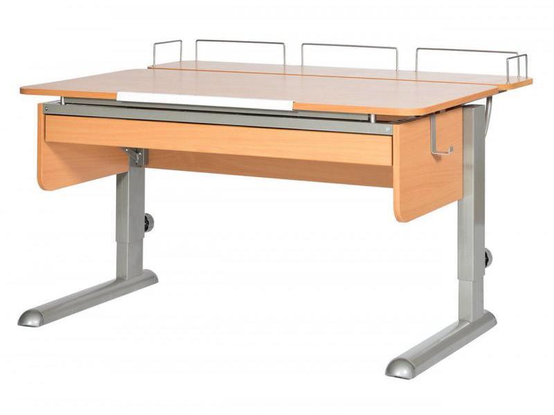Домашняя парта Астек МОНО-2 с фронтальной приставкой и выдвижным органайзером ЛДСП Бук Серый столы и стулья астек стол твин 2 столешница бук