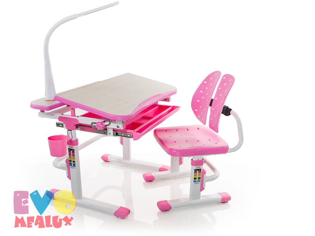 Домашняя парта Mealux EVO-05 комплект с стулом и лампой МДФ Клен Розовый