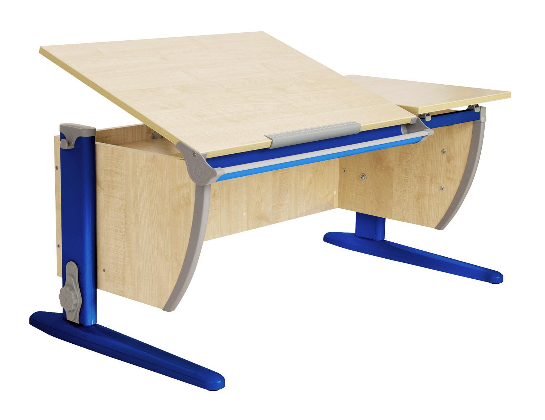 Парта Дэми (Деми) СУТ 17-02Д2 (парта 120 см+две задние двухъярусные приставки+боковая приставка) Клен Синий