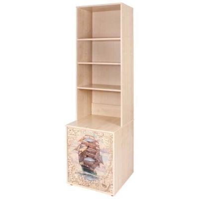Шкафы и стеллажи Дэми Стеллаж с тумбой и ящиками открытый с рисунком ЛДСП Клен Фрегат