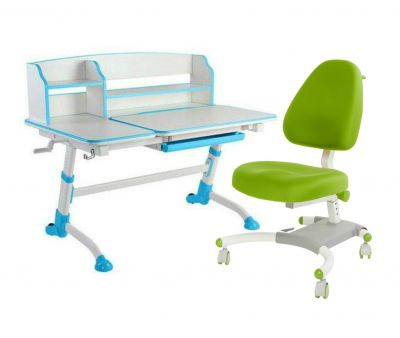 Комплект FunDesk Парта-трансформер Amare II с креслом Ottimo и прозрачной накладкой на парту 65х45