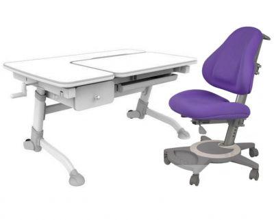 Комплект FunDesk Парта-трансформер Amare с ящиком с креслом Bravo и прозрачной накладкой на парту 65х45