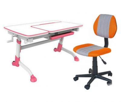 Комплект FunDesk Парта-трансформер Amare с креслом LST4 и прозрачной накладкой на парту 65х45