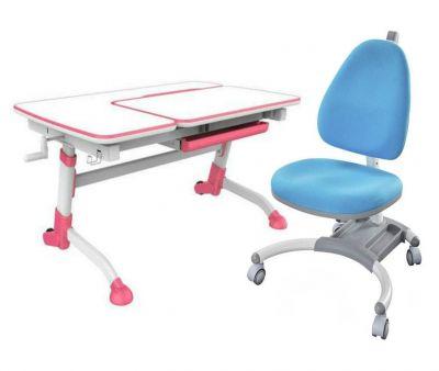 Комплект FunDesk Парта-трансформер Amare с креслом SST4 и прозрачной накладкой на парту 65х45