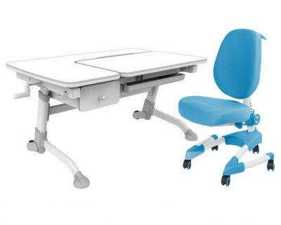 Комплект FunDesk Парта-трансформер Amare с ящиком с креслом Buono и прозрачной накладкой на парту 65х45