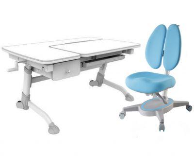 Комплект FunDesk Парта-трансформер Amare с ящиком с креслом Primavera II и прозрачной накладкой на парту 65х45