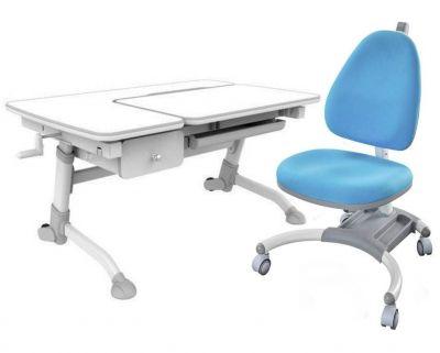 Комплект FunDesk Парта-трансформер Amare с ящиком с креслом SST4 и прозрачной накладкой на парту 65х45