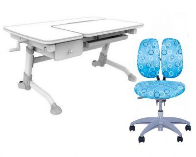 Комплект FunDesk Парта-трансформер Amare с ящиком с креслом SST9 и прозрачной накладкой на парту 65х45