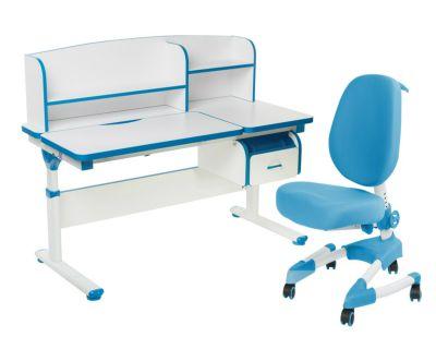 Комплект FunDesk Парта-трансформер Creare с креслом Buono и прозрачной накладкой на парту 65х45