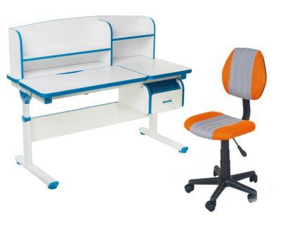 Комплект FunDesk Парта-трансформер Creare с креслом LST4 и прозрачной накладкой на парту 65х45