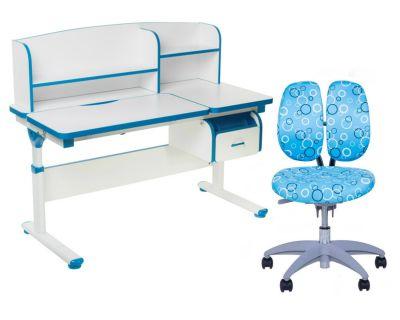Комплект FunDesk Парта-трансформер Creare с креслом SST9 и прозрачной накладкой на парту 65х45