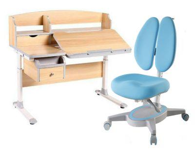 Комплект FunDesk Парта-трансформер Sognare с креслом Primavera II и прозрачной накладкой на парту 65х45