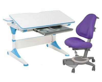 Комплект FunDesk Парта-трансформер Trovare с креслом Bravo и прозрачной накладкой на парту 65х45