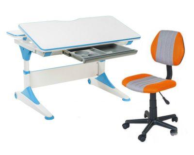 Комплект FunDesk Парта-трансформер Trovare с креслом LST4 и прозрачной накладкой на парту 65х45