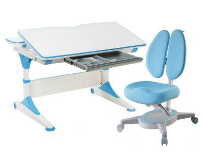 Комплект FunDesk Парта-трансформер Trovare с креслом Primavera II и прозрачной накладкой на парту 65х45