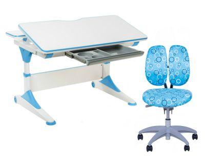 Комплект FunDesk Парта-трансформер Trovare с креслом SST9 и прозрачной накладкой на парту 65х45