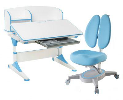Комплект FunDesk Парта-трансформер Trovare с надстройкой с креслом Primavera II и прозрачной накладкой на парту 65х45