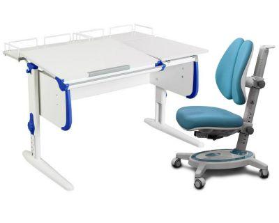 Комплект ДЭМИ Парта СУТ-25-01 WHITE DOUBLE с раздельной столешницей с креслом Stanford Duo и прозрачной накладкой на парту 65х45